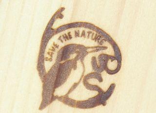 天然流木に焼印